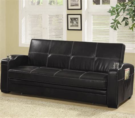 black leather sofa bed with cup holder black faux leather sofa bed with storage and cup holders
