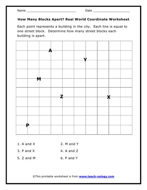 6th grade coordinate grid activities images
