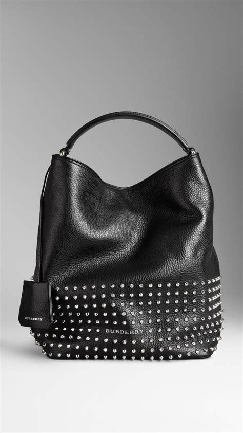 burberry medium studded leather hobo bag  black lyst