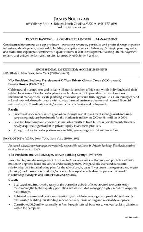 resume sle for banking and finance banking resume templates