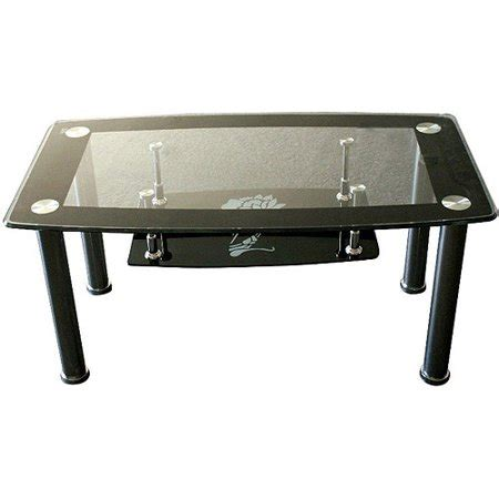 Hodedah Glass Rectangle Coffee Table, Black - Walmart.com