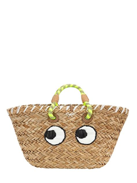 anya hindmarch basket eyes embroidered straw tote bag  natural lyst