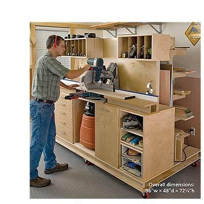 magazine woodworking project paper plan  build crosscut station  lumber rack en