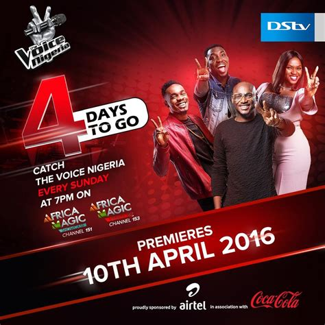 The voice nigeria is screened on africa magic, channel 151 on dstv, from for updates on social media, follow us on: The excitement mounts as THE VOICE NIGERIA premieres on the 10th of April - only on Africa Magic ...
