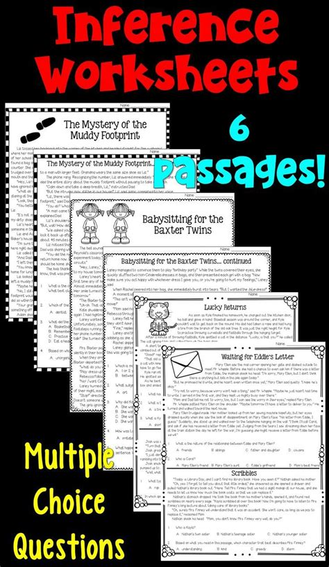 inferences worksheets reading comprehension passages