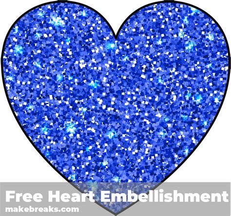printable blue glitter heart embellishment  breaks