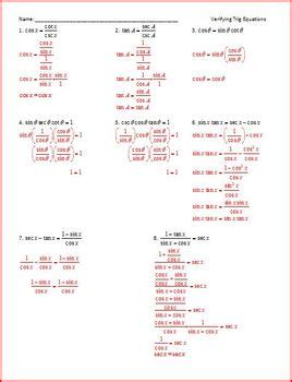 verifying trig identities worksheet worksheets for all