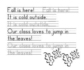 fall words handwriting worksheet zaner bloser by 1st grade teach