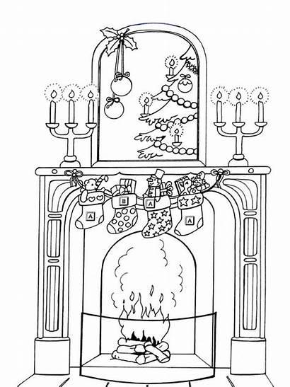 Coloring Christmas Pages Chimneys Printable Holiday