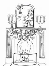 Coloring Christmas Pages Chimneys Printable Holiday sketch template