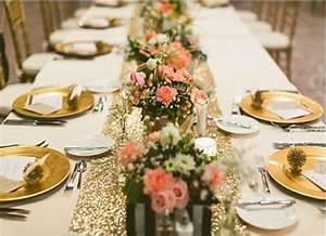 Chemin De Table Rose Gold : un beau mariage en or et blanc ~ Teatrodelosmanantiales.com Idées de Décoration