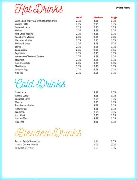 Drink Menu Templates Microsoft Word by Drink Menu Templates Microsoft Word Images Wedding Theme