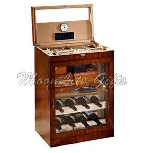 large mahogany finished cigar humidor and liquor cabinet