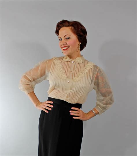 50s blouse 1950s vintage blouse fashion sheer 50s blouse