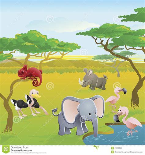 cute african safari animal cartoon scene stock vector