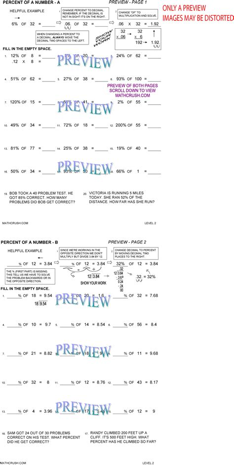 percent worksheets  math crush