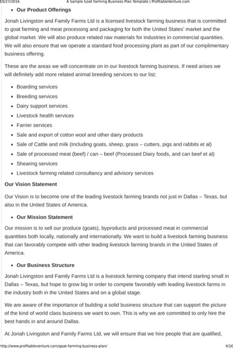 Goats are used for their meat and the consumption market forms a major share of the customer base for goat farming businesses. Download Goat Farming Business Plan Template Free Download for Free | Page 4 - FormTemplate