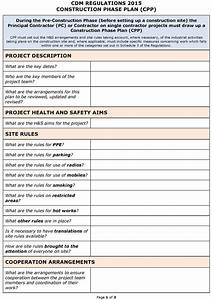 cdm regulations 2015 safety plan cpp template pp With contractor safety plan template
