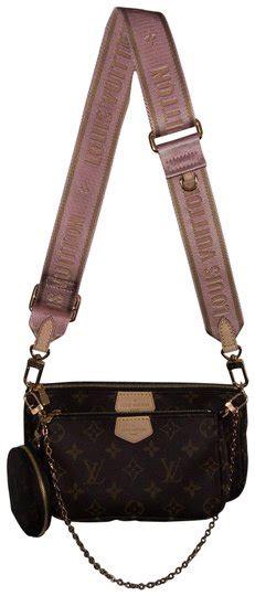 louis vuitton pochette accessoires multi pink strap  brown monogram canvas cross body bag