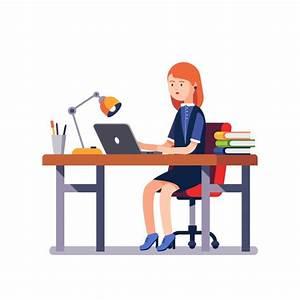Mujer de negocios o un empleado que trabaja en el escritorio de la oficina Descargar Vectores