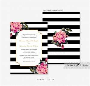 black white wedding invitation printed pink gold With black white and rose gold wedding invitations