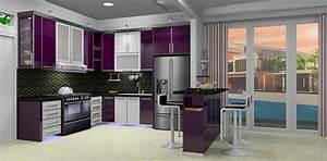 purple and white kitchen by basuki rahmat With kitchen colors with white cabinets with purple abstract wall art