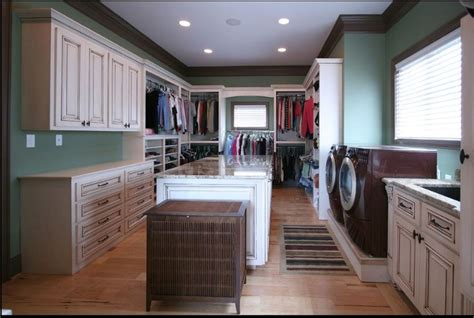 combined laundry and master closet rooms