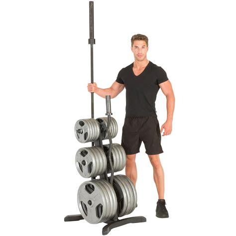 amazoncom fitness reality olympic weight treeplate rackbar holderschrome storage posts