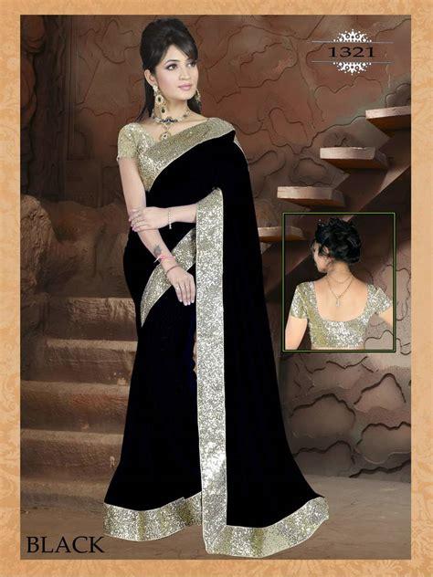black saree blouse buy black plain georgette designer saree with blouse