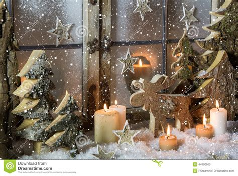 natural christmas window decoration of wood with snow stock photo image 44100600