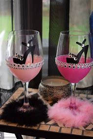 bling high heel show wine glass bridal party glass bridesmaids gift bachelorette wine