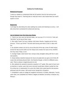 Exle Of How To Write A Profile For A Resume by Writing A Profile Essay Profile Essays On A Person How