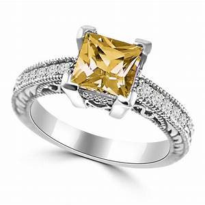 princess cut citrine diamond engagement ring antique style With citrine wedding rings