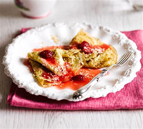 coconut crepes  raspberry sauce bbc good food