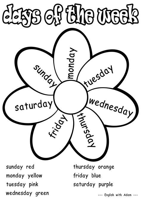 days   week coloring activity grade  worksheets