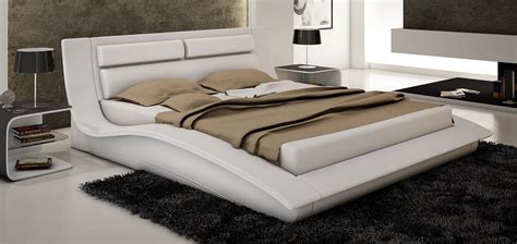 wave king size modern design white leather platform bed ebay