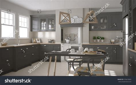 Scandinavian Classic Gray Kitchen Wooden Details Stock