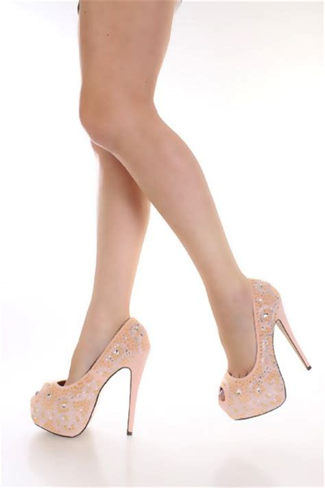 light pink high heels light pink rhinestone platform high heels faux suede