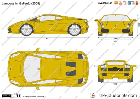 lamborghini gallardo vector drawing