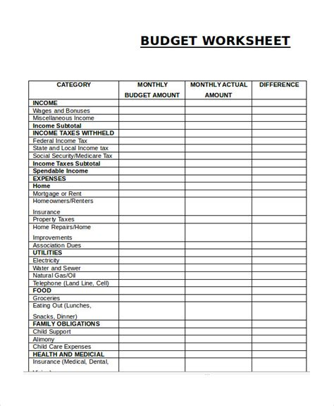 monthly budget worksheet excel samplebusinessresume