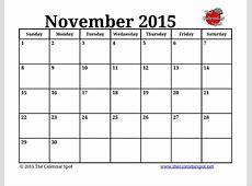 8 Best Images of Nov 2015 Calendar Printable November