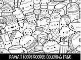 Coloring Doodle Printable Foods Kawaii Cute sketch template