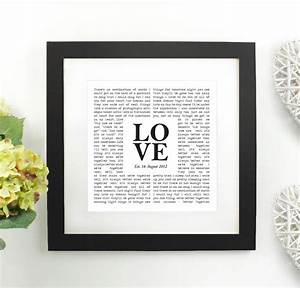 Personalised wedding vows framed print by over
