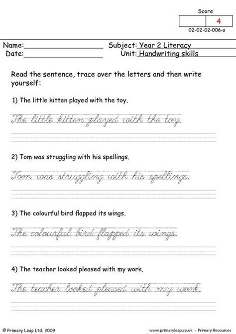 literacy handwriting skills  worksheet primaryleapcouk