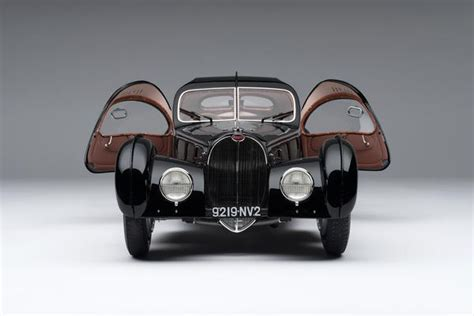 La voiture noire could, potentially, become more valuable than its inspiration, the type 57 sc atlantic, of which two remain at original. 1938 Bugatti Type 57SC Atlantic - La Voiture Noire at 1:8 scale - Amalgam Collection