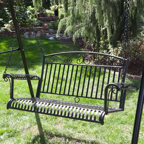 metal porch swing international caravan tropico 4 ft wrought iron curved
