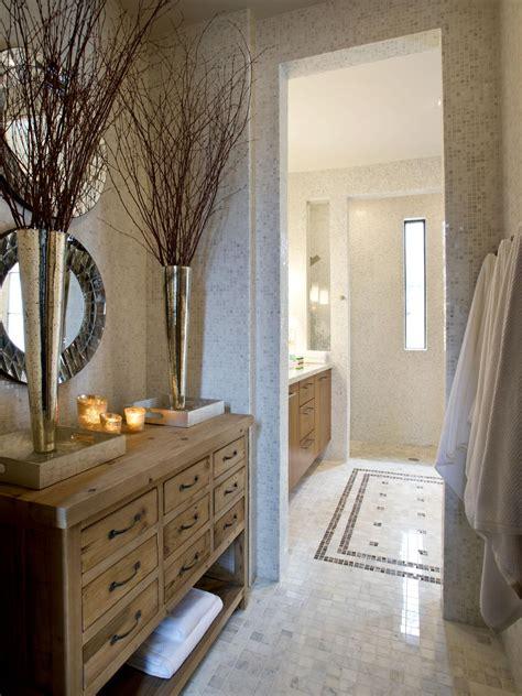 master bathroom  white tile floor  rustic wood