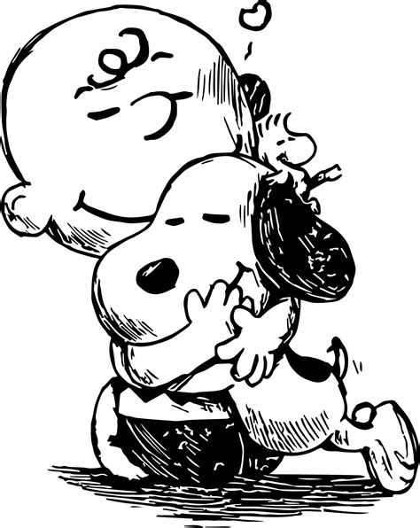 nice Snoopy And Charlie Brown Black White Sketch Coloring