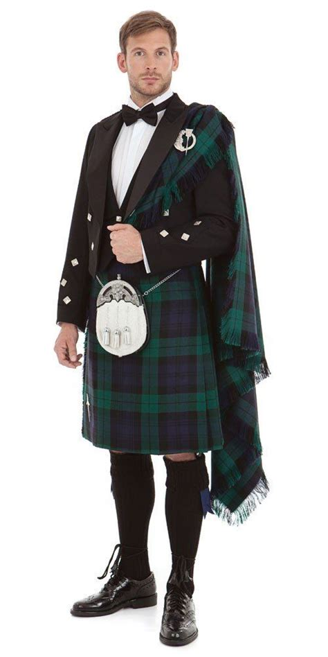 In Tartan The Highland Grooms by Scottish Highland Dress With Fly Plaid National Costume
