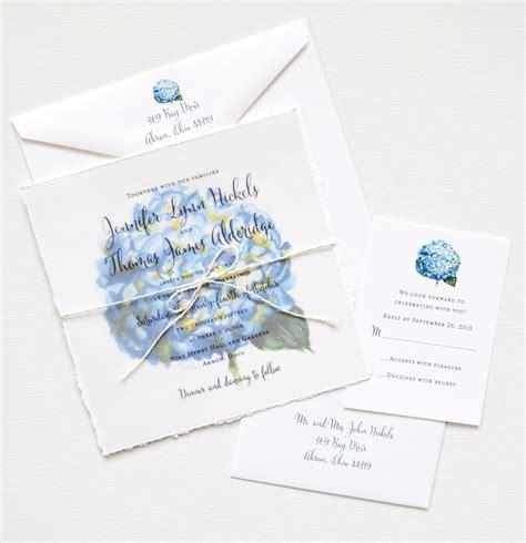 watercolor hydrangea invitation suite custom invitations
